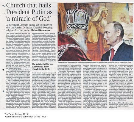 Church that hails President Putin as 'a miracle of God' - The Times