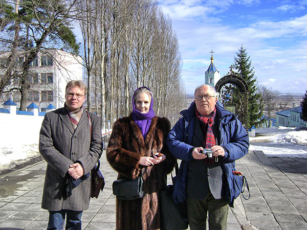 Roman Lunkin, Xenia Dennen & Sergei Filatov visit the Monastery of the Holy Mother of God, known as the Korennaya Pustyn 30 km from Kursk, during a fieldtrip in March 2010